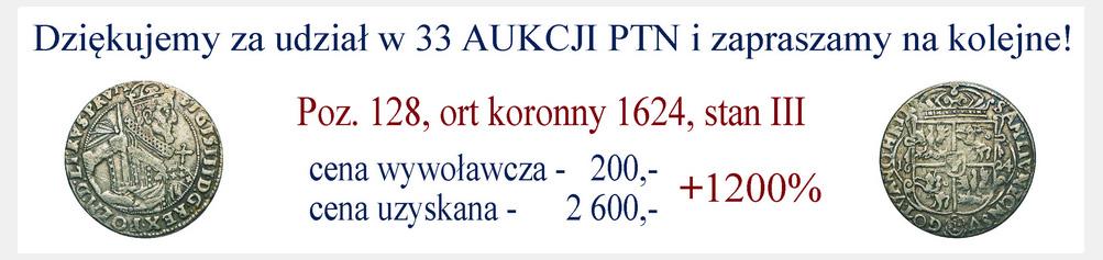 Bardzo rzadki Ort bydgoski z kokardami (R7) z aukcji PTN