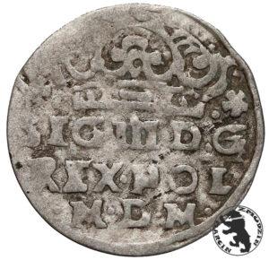 Awers z tytulaturą króla pod koroną władcy