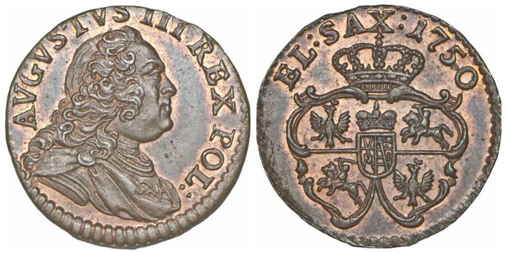 Szeląg 1750 z aukcji Polskiego Towarzystwa Numizmatycznego