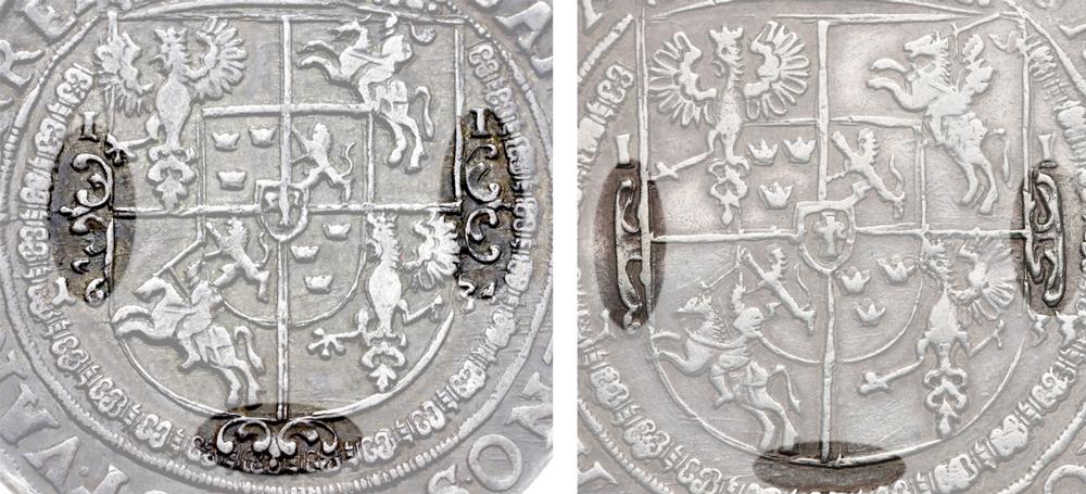 Różnice w ozdobnikach na talarach 1633 Władka